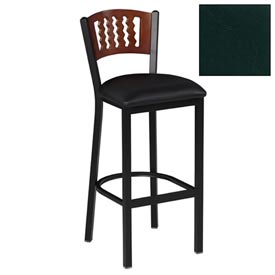 "Cherry 5 Wave-Back Bar Stool 17-1/2""W X 17""D X 42""H - Hunter Green - Pkg Qty 2"