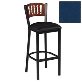 "Mahogany 5 Wave-Back Bar Stool 17-1/2""W X 17""D X 42""H - Slate Blue - Pkg Qty 2"