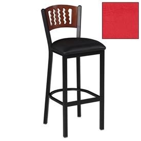 "Natural 5 Wave-Back Bar Stool 17-1/2""W X 17""D X 42""H - Red - Pkg Qty 2"