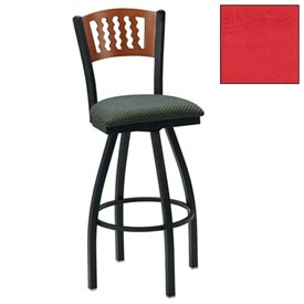 "Mahogany 5 Wave-Back Swivel Bar Stool 17-1/2""W X 17""D X 42""H - Red - Pkg Qty 2"