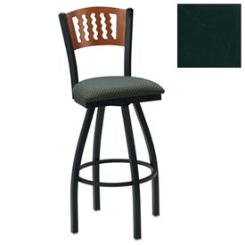 "Mahogany 5 Wave-Back Swivel Bar Stool 17-1/2""W X 17""D X 42""H - Hunter Green - Pkg Qty 2"