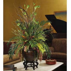 """OfficeScapesDirect 42"""" Mixed Cycas & Croton Silk Plant"""