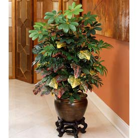 "OfficeScapesDirect 45"" Mixed Palm & Croton Silk Plant"
