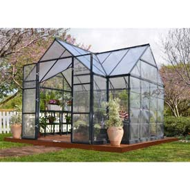 Palram, Chalet Greenhouse Kit, HG5400, 7'L x 11'W, Clear Panel, Charcoal Frame by