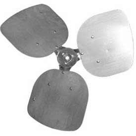 "Three Wing Condenser Fan Blade, 1/2"" Fixed Hub, Aluminum Blade, 18"" Dia., CW, 33° Pitch by"