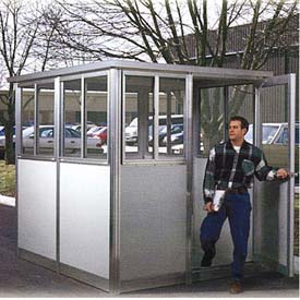 6' x 10' Pre-Assembled Security Building, Integral Roof - Champagne, Swing Door
