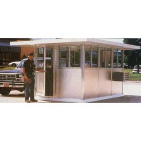 "6' x 8' Pre-Assembled Security Building, 24"" Overhang Roof - Champagne, Swing Door"