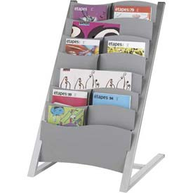 Paperflow 7-Compartment Multi-Sizes Floor Literature Display Silver