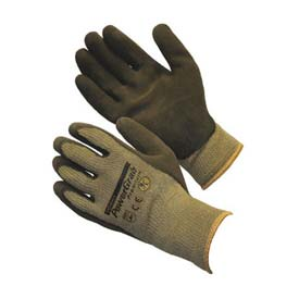 PIP PowerGrab™ Premium Gloves, Brown Latex W/ MicroFinish™, L