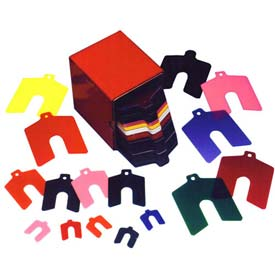 "2"" x 2"" x 0.0075"" Matte, Plastic Color Coded Slotted Shim (Pack of 20) - Made In USA"