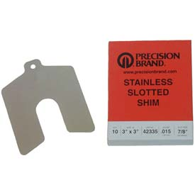 """3"""" x 3"""" x 0.020"""" Stainless Steel Slotted Shim (Pack of 10) - Made In USA"""