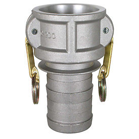 "3"" Aluminum Camlock Fitting - Male Barb x Female Coupler Thread"