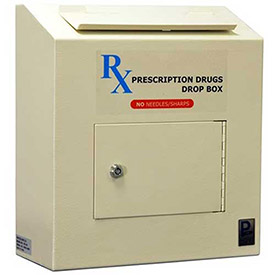 "Protex Prescription Drop Box RX-164 - 6-5/8""W x 14-1/8""D x 15-3/4""H, Beige"