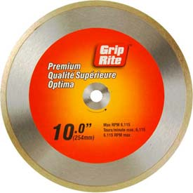 "Grip-Rite Premium Tile Diamond Saw Blade 10"" Dia. 7mm Rim Package Count 5 by"