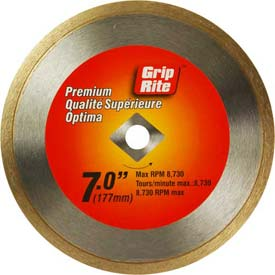 "Grip-Rite Premium Tile Diamond Saw Blade 7"" Dia. 7mm Rim Package Count 5 by"