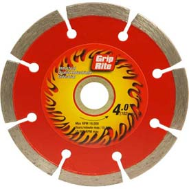 "Grip-Rite Industrial Segmented Diamond Saw Blade 4"" Dia. 7mm Rim Package Count 5 by"