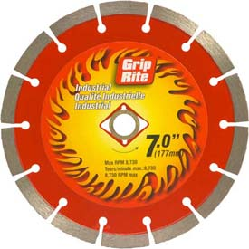 "Grip-Rite Industrial Segmented Diamond Saw Blade 7"" Dia. 10mm Rim Package Count 5 by"
