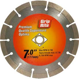 "Grip-Rite Premium Segmented Diamond Saw Blade 7"" Dia. 10mm Rim Package Count 5 by"
