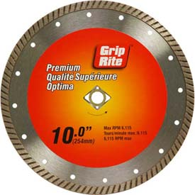 "Grip-Rite Premium Turbo Diamond Saw Blade 10"" Dia. 10mm Rim by"