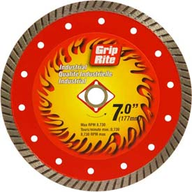 "Grip-Rite Industrial Turbo Diamond Saw Blade 7"" Dia. 10mm Rim Package Count 5 by"