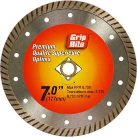"Grip-Rite Premium Turbo Diamond Saw Blade 7"" Dia. 10mm Rim Package Count 5 by"