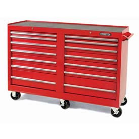 "Proto J445442-14RD 440SS 54"" Workstation - 14 Drawer, Red, 54""L X 42""H X 18""D"