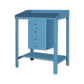 "36""W x 30""D Open Steel Shop Desk with Four Drawers - Blue"