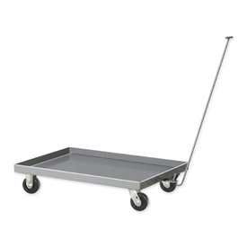 Pucel™ 18-D-48 Steel Pull Dolly Phenolic Casters 48 x 18 Gray - Tray Deck