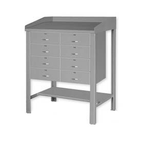 "36""W x 30""D Open Steel Shop Desk with Eight Drawers - Gray"