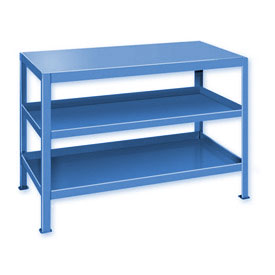 "Heavy Duty Machine Table w/ 3 Shelves - 48""W x 18""D Blue"