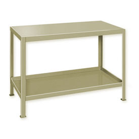 "Heavy Duty Machine Table w/ 2 Shelves - 36""W x 24""D Putty"