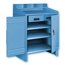3 Shelf Cabinet Shop Desk w/ 2 Drawers Blue