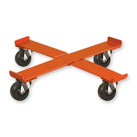 "Pucel™ 75 Cross Drum Dolly with Rubber Casters - 24-1/2"" Orange"