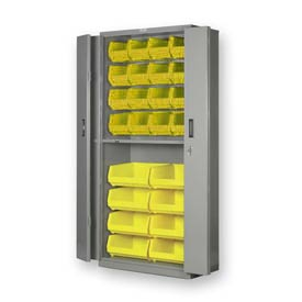 "Pucel BiFold Door Bin Cabinet BDSC-3678-18 - 36""W x 18""D x 78""H Gray With 24 Yellow Bins"