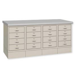 Drawer Base Bench - Steel Top Putty