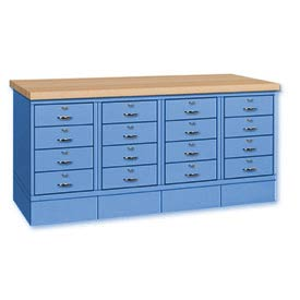Drawer Base Bench -Ash Square Edge Top Blue