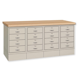 Drawer Base Bench - Ash Square Edge Top Putty