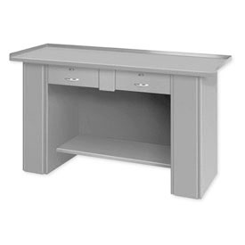 Drop Front Top Bench - 2 Drawers Gray