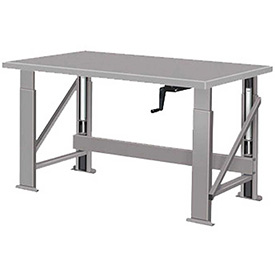 "Manual Hydraulic Bench w/ Steel Top - 60""W x 34""D Gray"