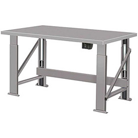 "Electric Hydraulic Bench w/ Steel Top - 96""W x 34""D Gray"