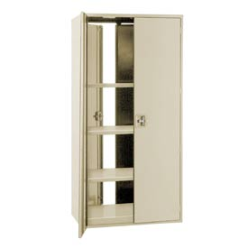 """Double Sided Door Storage Cabinet - 48""""W x 24""""D x 72""""H Putty"""