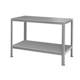 "Extra Heavy Duty Work Table w/ 2 Shelves - 48""W x 24""D Gray"