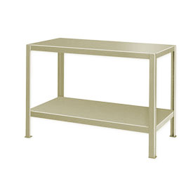 "Extra Heavy Duty Work Table w/ 2 Shelves - 72""W x 24""D Putty"