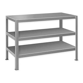 "Extra Heavy Duty Work Table w/ 3 Shelves - 60""W x 34""D Gray"