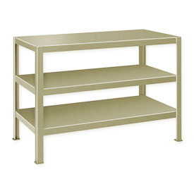 "Extra Heavy Duty Work Table w/ 3 Shelves - 72""W x 34""D Putty"