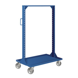 "Pucel Portable Bin and Shelf Cart PBSCL-36 w/ One Louvered Panel Blue, 36""L x 24""W x 61""H"
