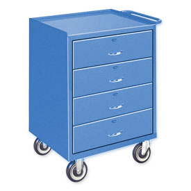 Mobile Drawer Bench - 4 Drawers Blue