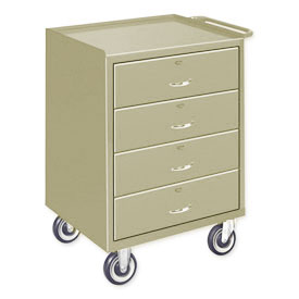 Mobile Drawer Bench - 4 Drawers Putty