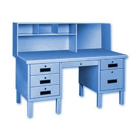 Double Pedestal Shop Desk w/ Filing Cabinet Blue