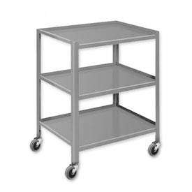 "Pucel™ TU-2028-3 Mobile Table 3 Shelves with 3"" Casters 28 x 20"
